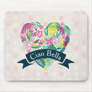 Ciao Bella Cute Floral Heart on Pink Circles Mouse Pad