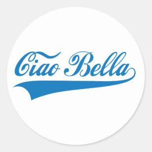 Italian words stickers zazzle ciao bella italian greeting word art text design classic round sticker m4hsunfo