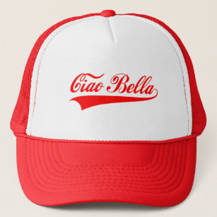 Italian words baseball trucker hats zazzle ciao bella italian greeting word art text design trucker hat m4hsunfo