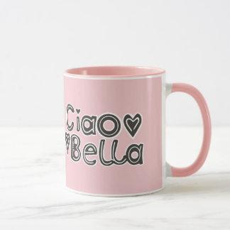 Ciao Bella Typography Art Light Blush Mug