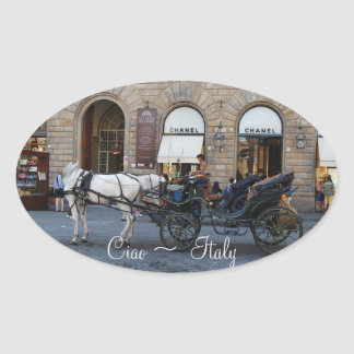 Ciao Hello Goodbye from Italy Oval Sticker