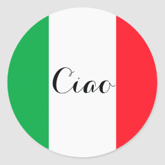 Ciao Italy with the italian flag Classic Round Sticker