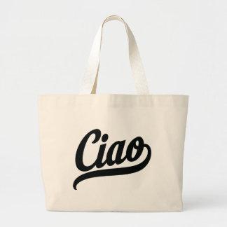 Ciao Script (Black) Large Tote Bag