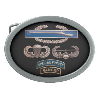 CIB Airborne Air Assault SF Ranger Oval Belt Buckle