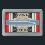 "CIB Iraq Veteran Rectangular Belt Buckle<br><div class=""desc"">Combat Infantry Badge (CIB) on the Iraq Campaign ribbon with Iraq Veteran text</div>"
