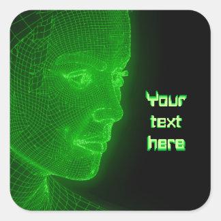 Ciberespacio que brilla intensamente Cyberwoman - Pegatina Cuadrada