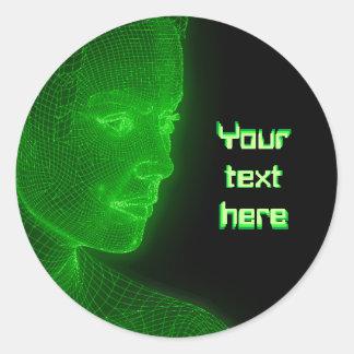 Ciberespacio que brilla intensamente Cyberwoman - Pegatina Redonda