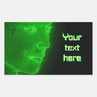 Ciberespacio que brilla intensamente Cyberwoman - Pegatina Rectangular