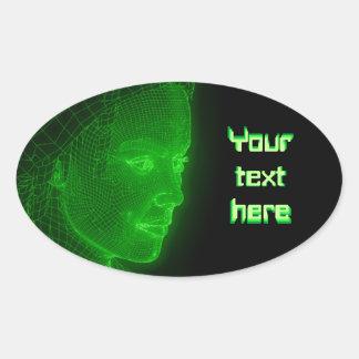 Ciberespacio que brilla intensamente Cyberwoman - Pegatina Ovalada