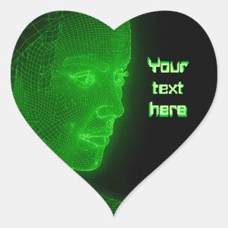 Ciberespacio que brilla intensamente Cyberwoman - Pegatina En Forma De Corazón
