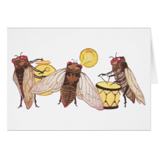 Cicada Band with Gong, Trumpet and Drum Card