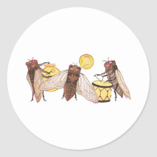 Cicada Band with Gong, Trumpet and Drum Classic Round Sticker