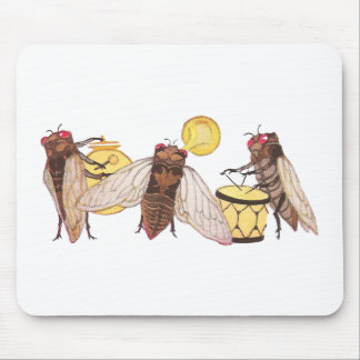 Cicada Band with Gong, Trumpet and Drum Mouse Pad