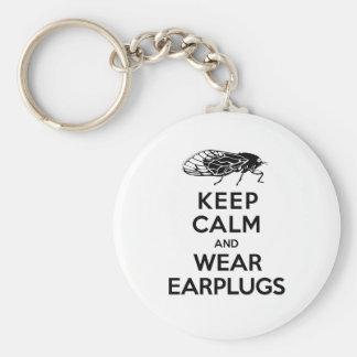 CICADAS are Here! Keep Calm and Wear Earplugs Basic Round Button Keychain