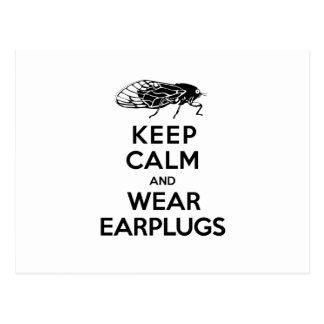 CICADAS are Here! Keep Calm and Wear Earplugs Postcard