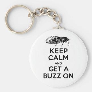 Cicadas - Keep Calm and Get a Buzz On - Magicicada Basic Round Button Keychain