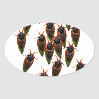 cicadas oval stickers