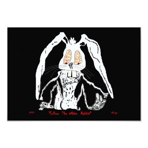 Cicatriz decorativa del conejo blanco de las invitación 8,9 x 12,7 cm
