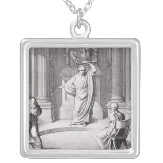 Cicero Denouncing Catiline Silver Plated Necklace