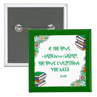 Cicero s quote on libraries pinback button