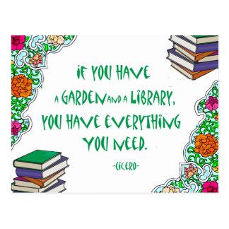 Cicero - si usted tiene un jardín y una biblioteca tarjeta postal