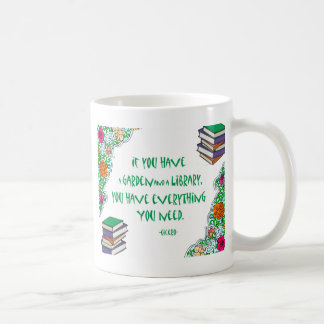 Cicero's quote on libraries classic white coffee mug
