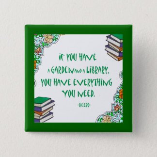 Cicero's quote on libraries pinback button