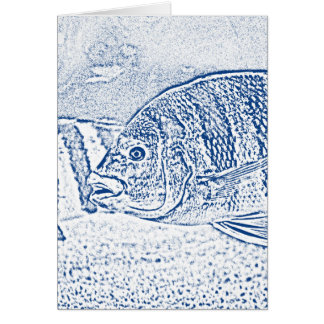 cichlid fish blue and white animal card