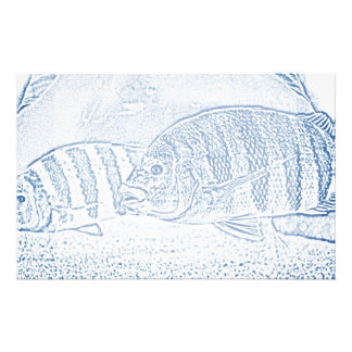 cichlid fish blue and white animal stationery