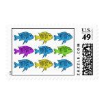 Cichlid fish pop art postage