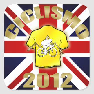 Ciclismo British Cycling Velo 2012 Yellow Jersey Square Sticker