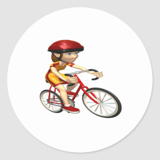 Ciclista 2 de la mujer pegatina redonda