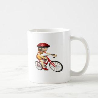 Ciclista 2 de la mujer taza de café