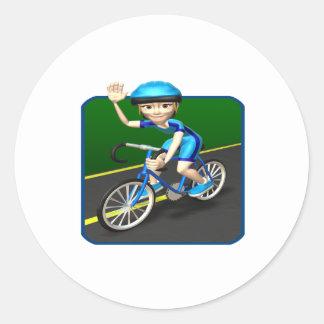 Ciclista 3 de la mujer pegatina redonda