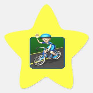 Ciclista 3 de la mujer pegatina en forma de estrella