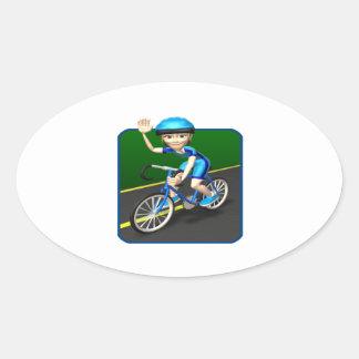 Ciclista 3 de la mujer pegatina ovalada