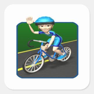 Ciclista 3 de la mujer pegatina cuadrada