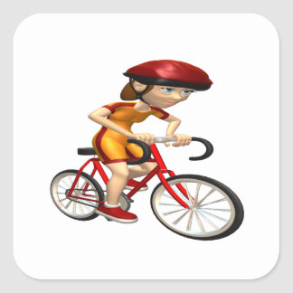 Ciclista 4 de la mujer pegatina cuadrada