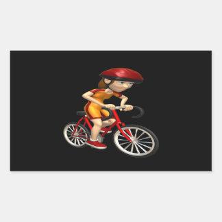 Ciclista 4 de la mujer pegatina rectangular