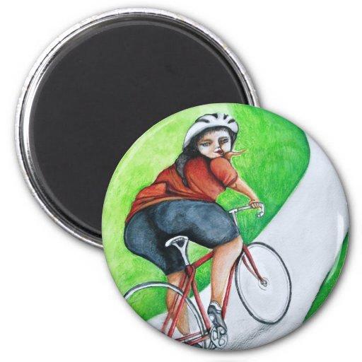 Ciclista - beso adiós imán redondo 5 cm