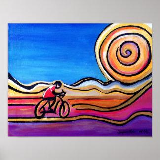 Ciclista colorido - pintura de acrílico (14 x 11) póster