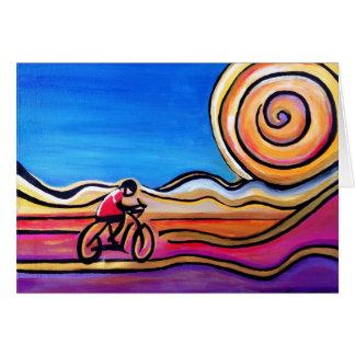 Ciclista colorido - pintura de acrílico (tarjeta) tarjeta de felicitación