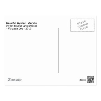 Ciclista colorido - pintura de acrílico (tarjeta) tarjeta postal