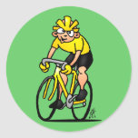 Ciclista - completando un ciclo pegatina redonda