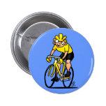 Ciclista - completando un ciclo pin redondo de 2 pulgadas