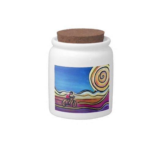 Ciclista de acrílico colorido jarras para caramelos
