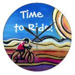 Ciclista de acrílico colorido relojes de pared