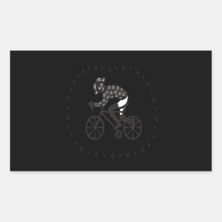 Ciclista de la mujer pegatina rectangular