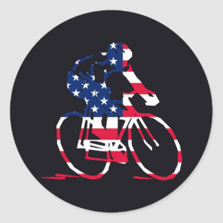 Ciclista de los E.E.U.U. Pegatinas Redondas