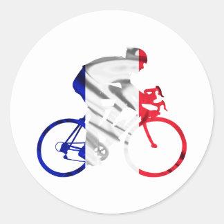 Ciclista del Tour de Francia Pegatina Redonda